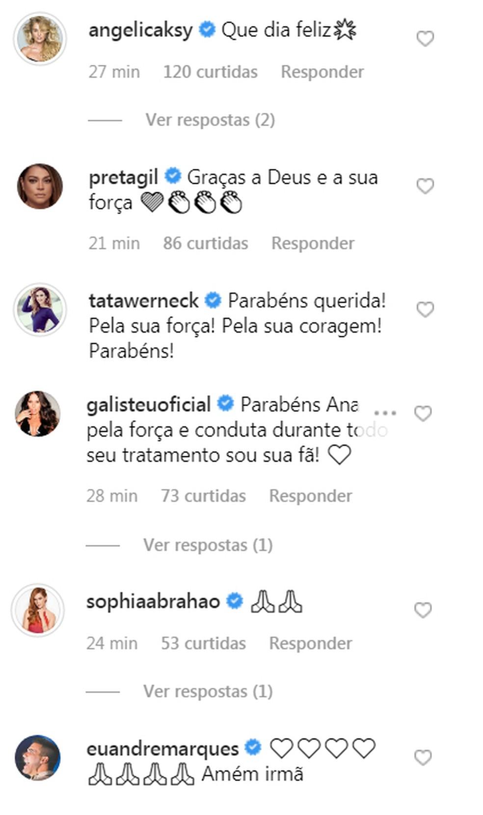 Angélica, André Marques, Preta Gil e outros famosos comemoram o fim do tratamento de Ana Furtado contra o câncer de mama — Foto: Reprodução / Instagram