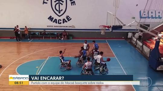 """""""Vai Encarar?"""" aceita desafio de jogar basquete com o time profissional do Macaé Sobre Rodas"""