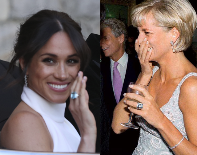 Meghan Markle com o anel de Diana (Foto: Getty Images)