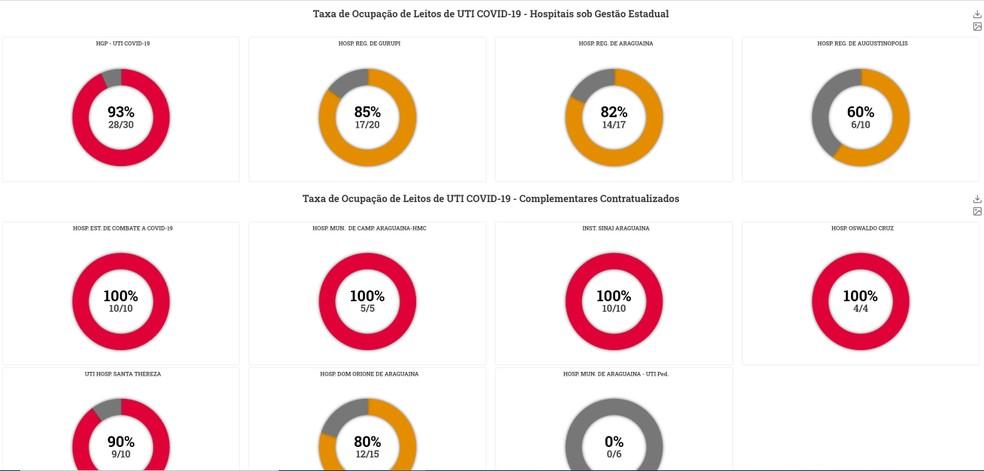 Taxa de ocupação dos leitos públicos nesta segunda-feira (1) — Foto: Reprodução/Portal Integra Saúde/Governo do Tocantins