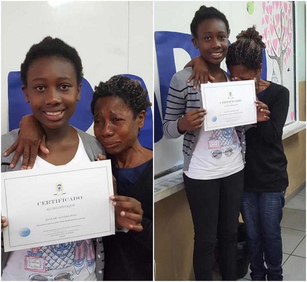 Menina foi reconhecida como aluna destaque em escola estadual em Bragança Paulista — Foto: Arquivo Pessoal