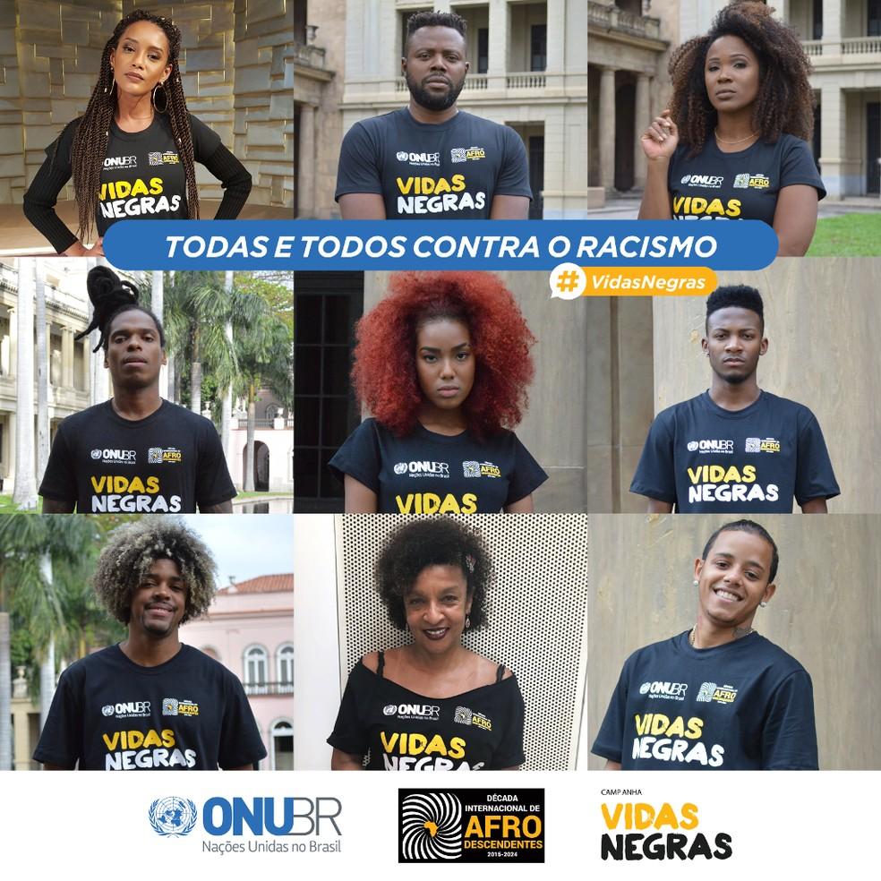 Cartaz da campanha 'Vidas Negras', da ONU Brasil (Foto: ONU Brasil/Divulgação)