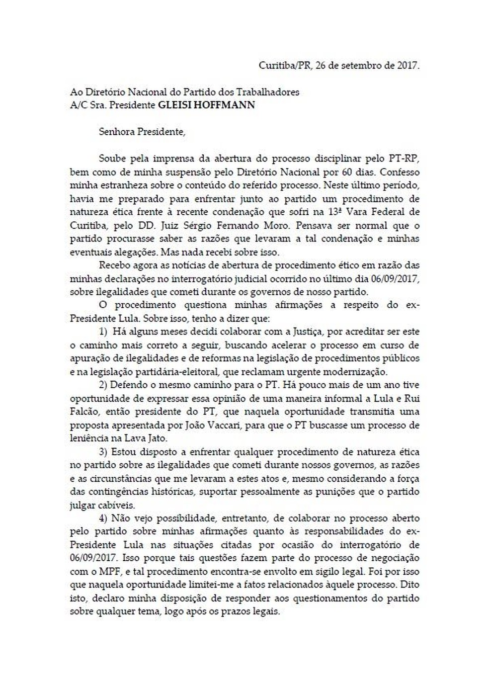 Carta Palocci (Foto: Reprodução)