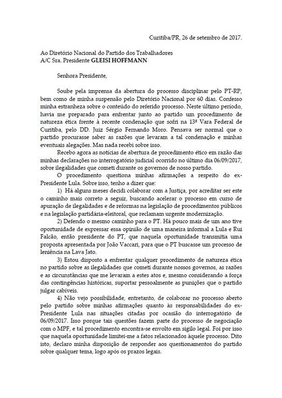 Carta Palocci — Foto: Reprodução