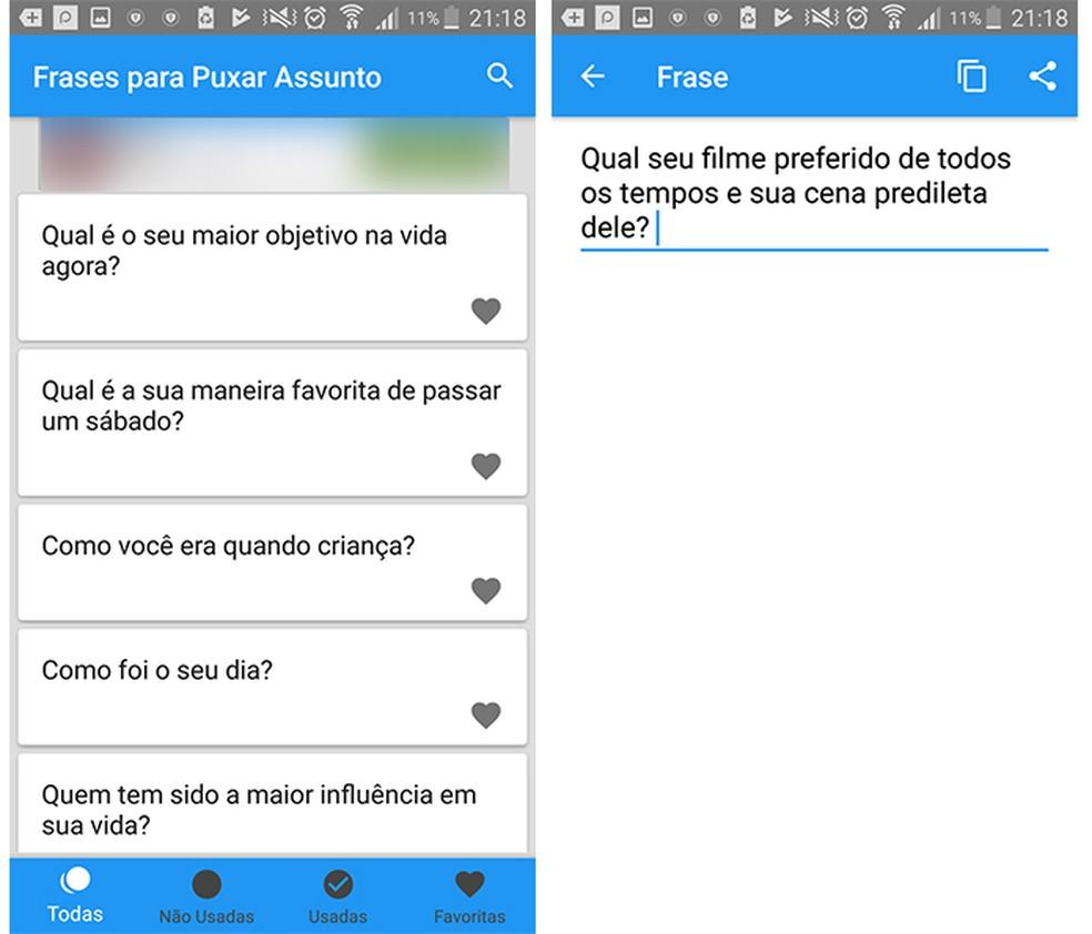 O aplicativo Frases para Puxar Assunto permite que os usuários editem as frases antes de enviá-las (Foto: Reprodução/Caroline Brizon)