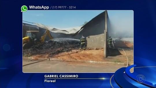 Incêndio danifica estrutura de marcenaria em Floreal