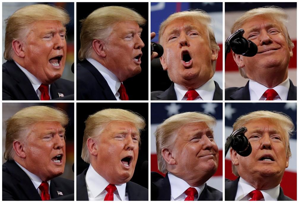 Sequência de fotos de Donald Trump em comício na Flórida, nesta quarta (31) — Foto: Reuters/Carlos Barria