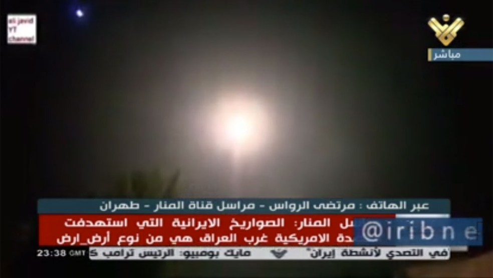 Emissora iraniana noticiou lançamento de mísseis contra alvos no Iraque na semana passada — Foto: Iribnews/Reprodução