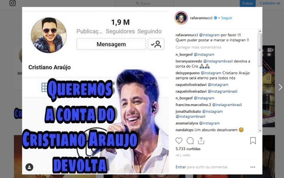 O produtor executivo do cantor, Rafael Vanucci, também comendou a desativação do perfil de Cristiano Araújo — Foto: Reprodução/Instagram
