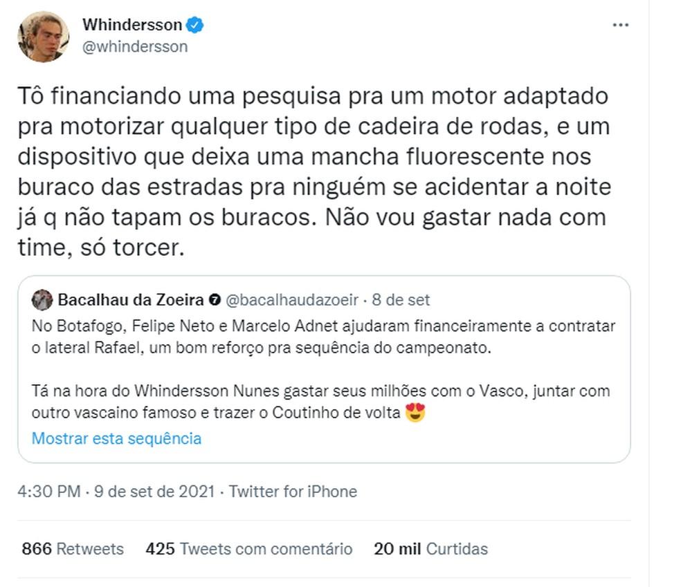 Whindersson Nunes responde a perfil sobre ajudar o Vasco  — Foto: Reprodução/Twitter