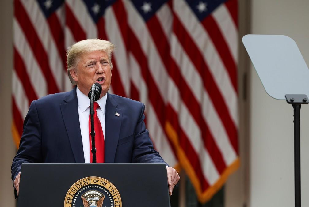 Presidente dos EUA, Donald Trump, durante coletiva na Casa Branca nesta sexta-feira (29) — Foto: Jonathan Ernst/Reuters