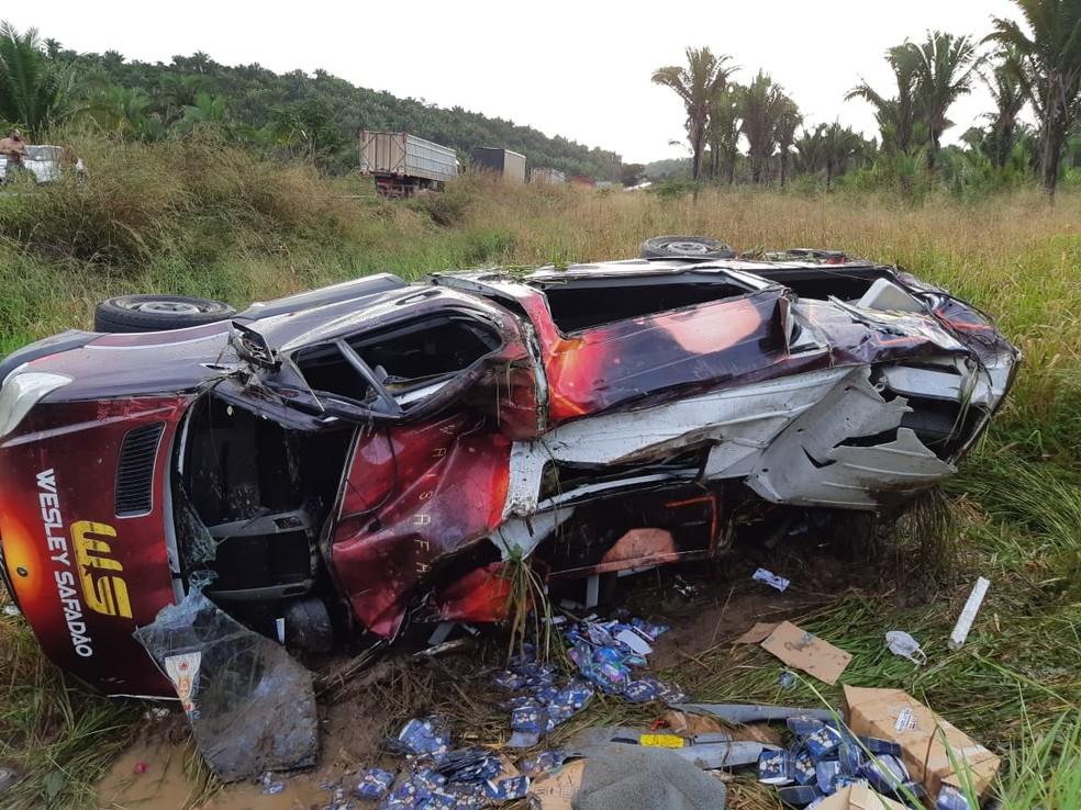 Acidente foi registrado na tarde desta sexta-feira (17), no município de Peritoró (MA). — Foto: Reprodução/Polícia Rodoviária Federal do Maranhão (PRF-MA)