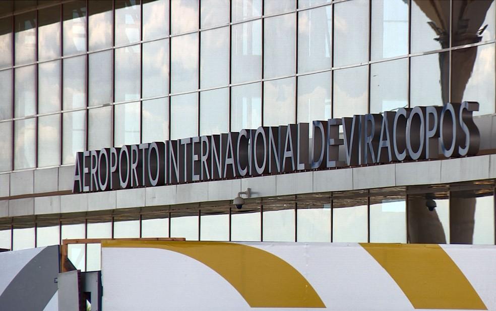Área de embarque de passageiros do Aeroporto Internacional de Viracopos, em Campinas — Foto: Reprodução/EPTV