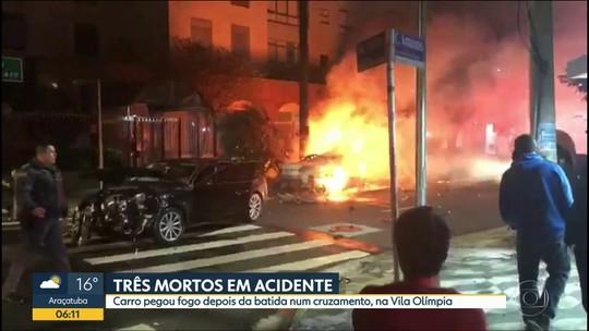 Colisão deixa 3 mortos carbonizados em São Paulo