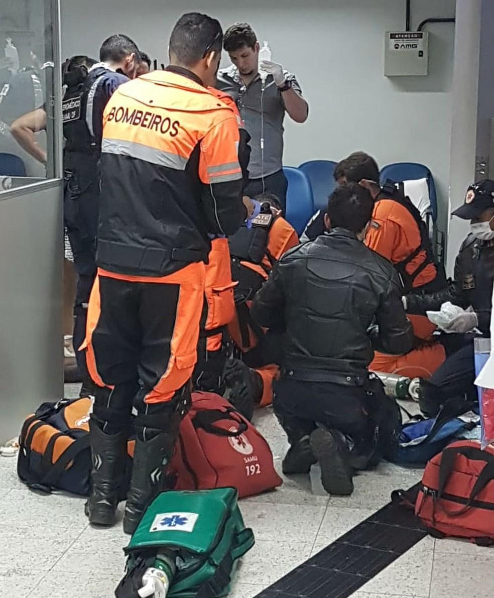 Bombeiros atendem homem que teve parada cardiorrespiratória em agência do INSS em Brasília — Foto: Arquivo pessoal
