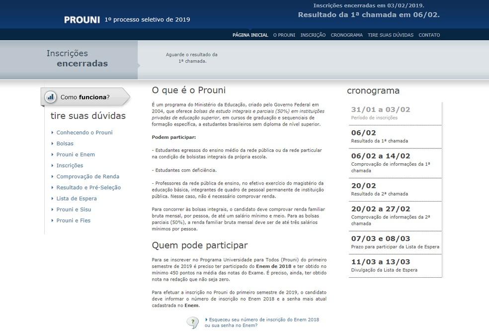 Prouni: Página oficial do programa com as inscrições encerradas — Foto: Reprodução/Site oficial Prouni