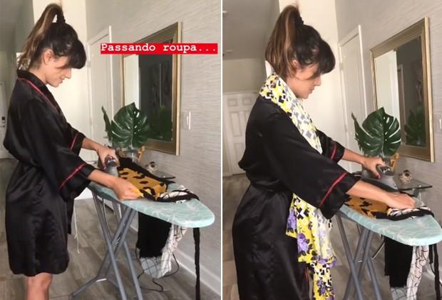 Prendada, Paula Fernandes passa roupa  (Foto: Reprodução/Instagram)