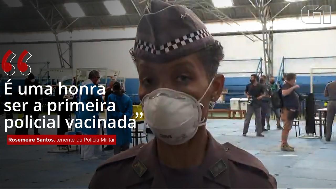 VÍDEO: 'É uma honra ser a primeira policial vacinada', diz tenente da PM