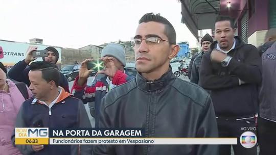 Motoristas protestam e ônibus não saem de garagem em Vespasiano, na Grande BH