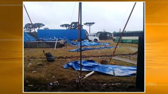Circo tem estrutura arrancada por vento na Serra de SC