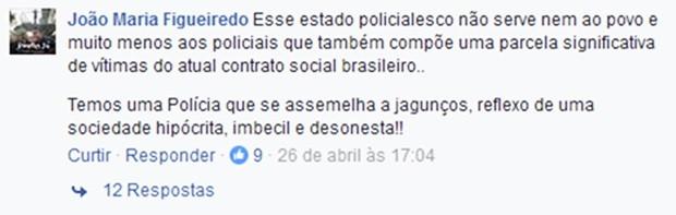 Comentário feito pelo soldado João Maria Figueiredo foi considerado uma ofensa à Polícia Militar  (Foto: Reprodução/Facebook)