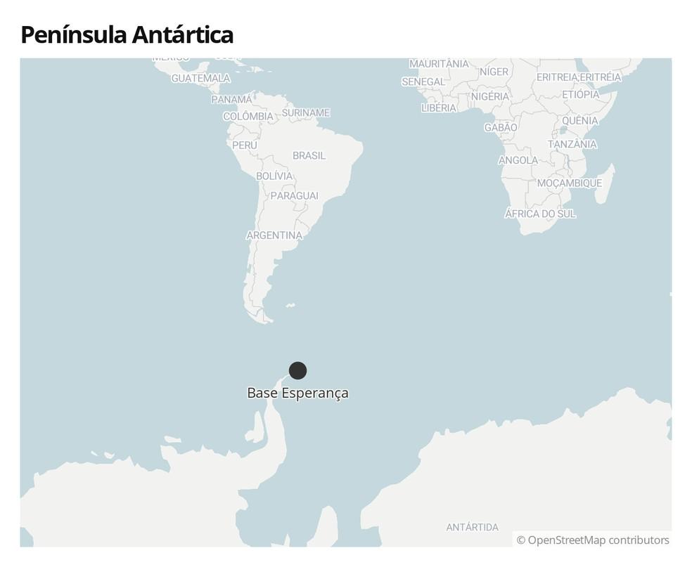 Base Esperança, na Península Antártica  — Foto: Arte/G1