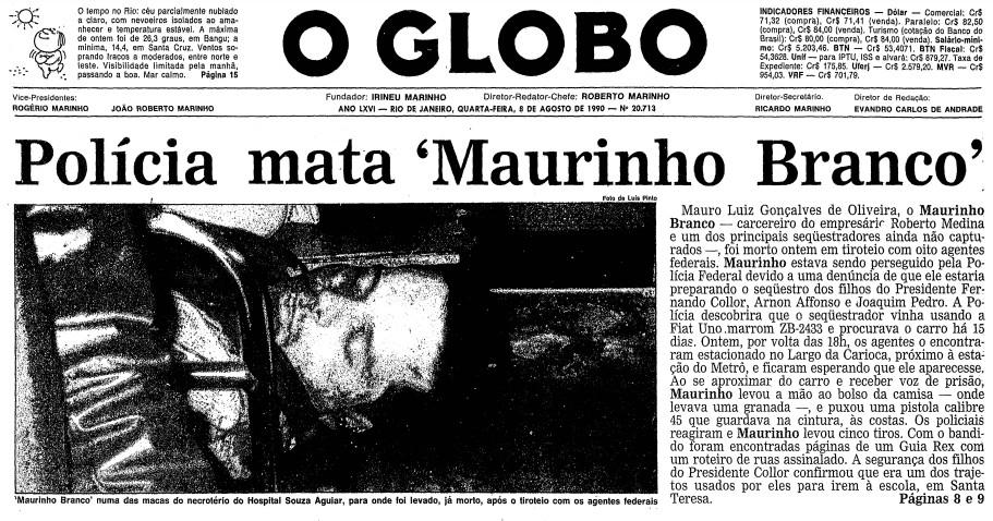 Primeira página da edição do GLOBO de 8 de agosto de 1990