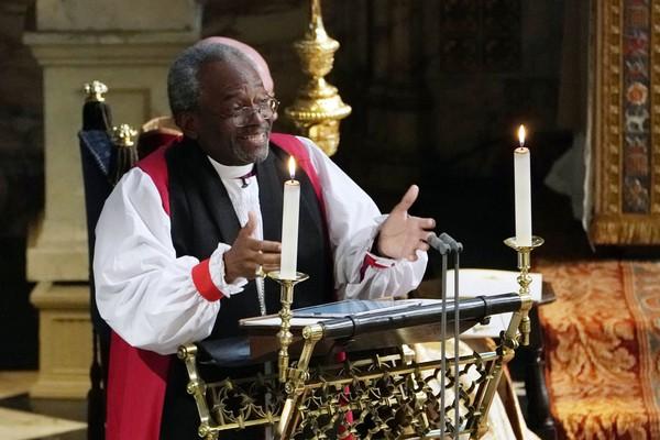 O bispo Michael Curry durante o casamento real (Foto: Getty Images)
