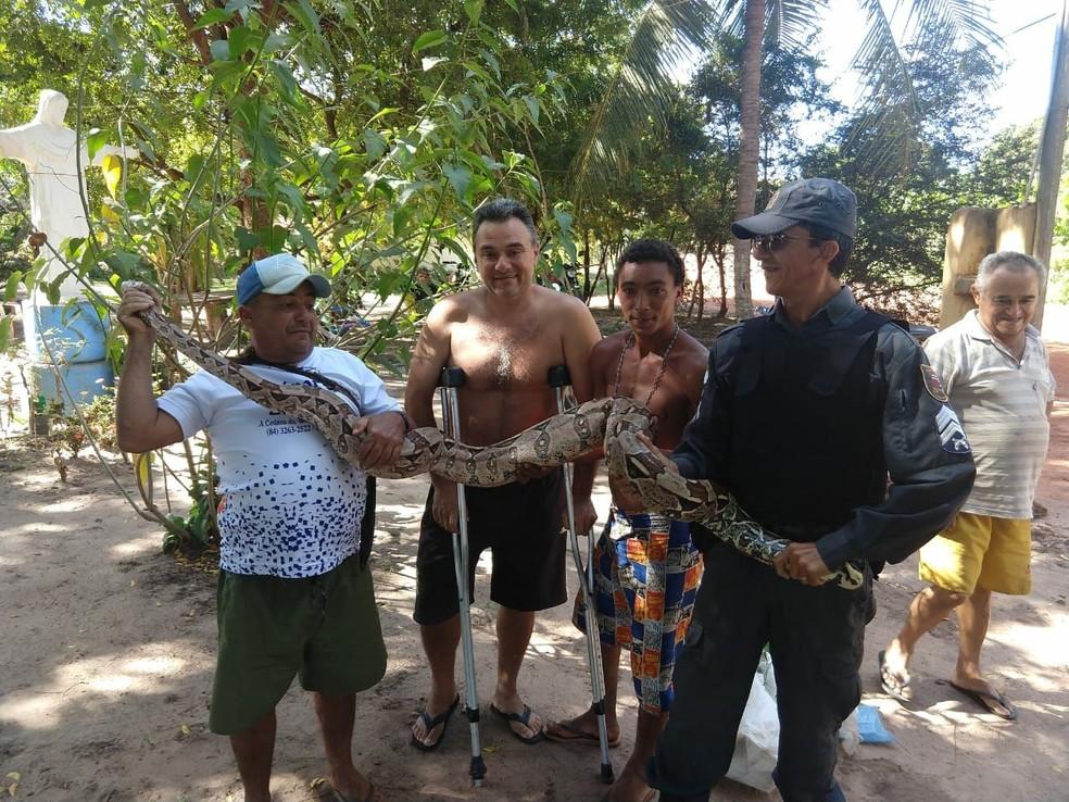 PM apreendeu cobra de mais de 2 metros em Touros (Foto: PM/Divulgação)