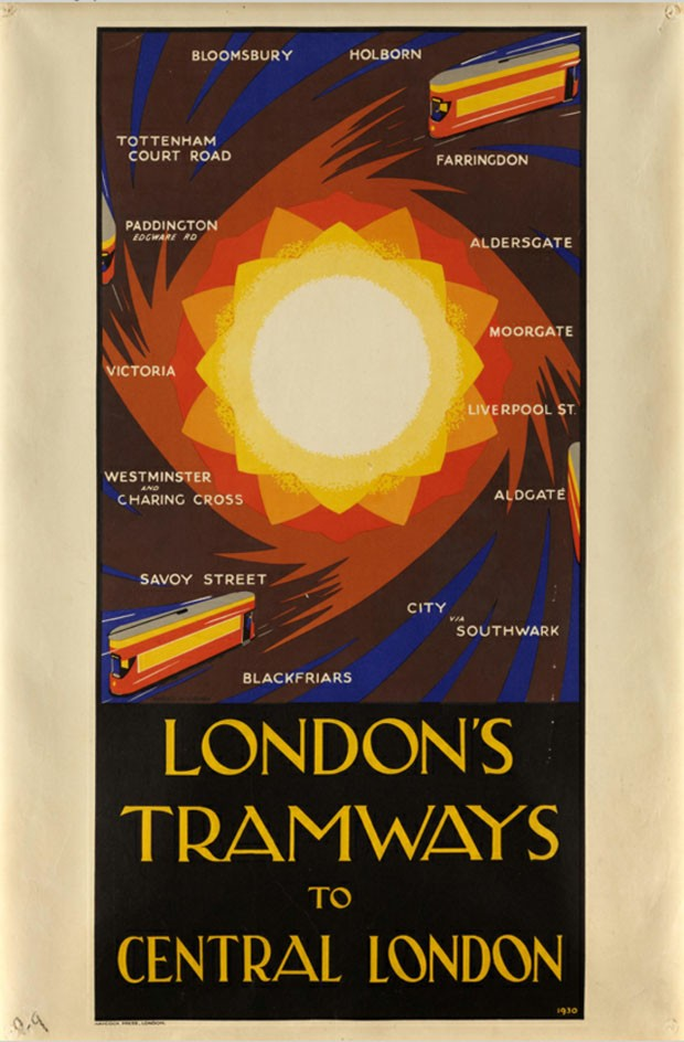 Pôster <em>London's Tramways to Central London</em>, 1930, de Harold McCready<br/>
