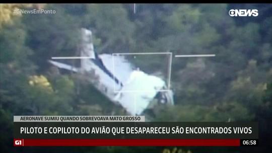 Piloto e copiloto de avião que desapareceu são encontrados vivos em MT