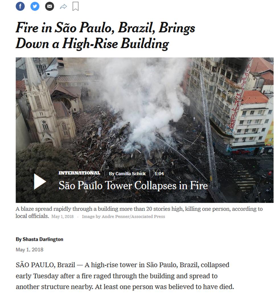 Site do The New York Times trouxe imagens dos escombros (Foto: Reprodução/ The New York Times)