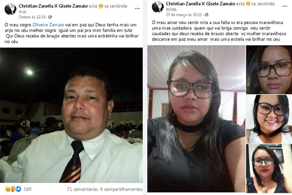 Marido de Gisele fez postagens em homenagem à mulher e ao sogro em Marília — Foto: Facebook/ Reprodução