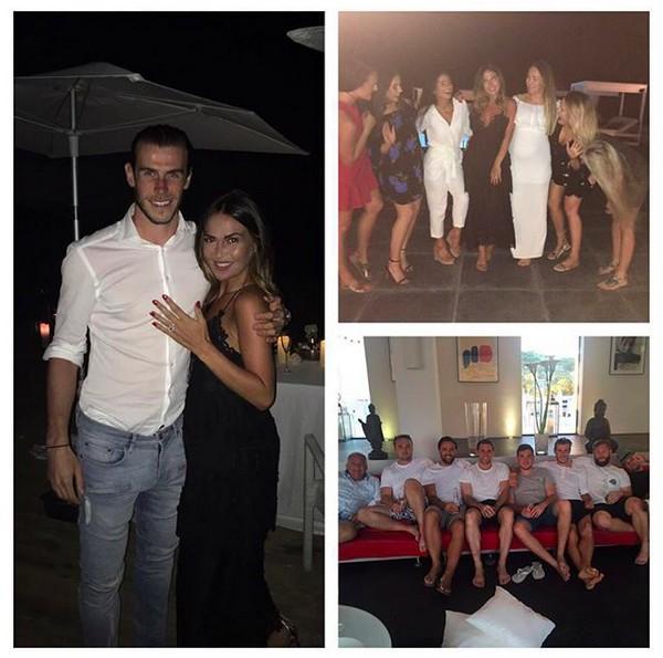 A craque galês do Real Madrid, Gareth Bale, com a noiva e amigos (Foto: Instagram)