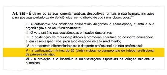 Detalhe da constituição estadual, que determina um Carioca com pelo mensos 20 clubes