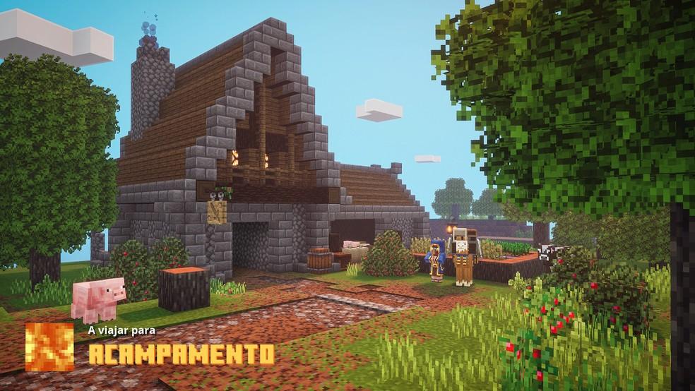 Aventura de Minecraft Dungeons tem vários cenários — Foto: Reprodução/Felipe Vinha