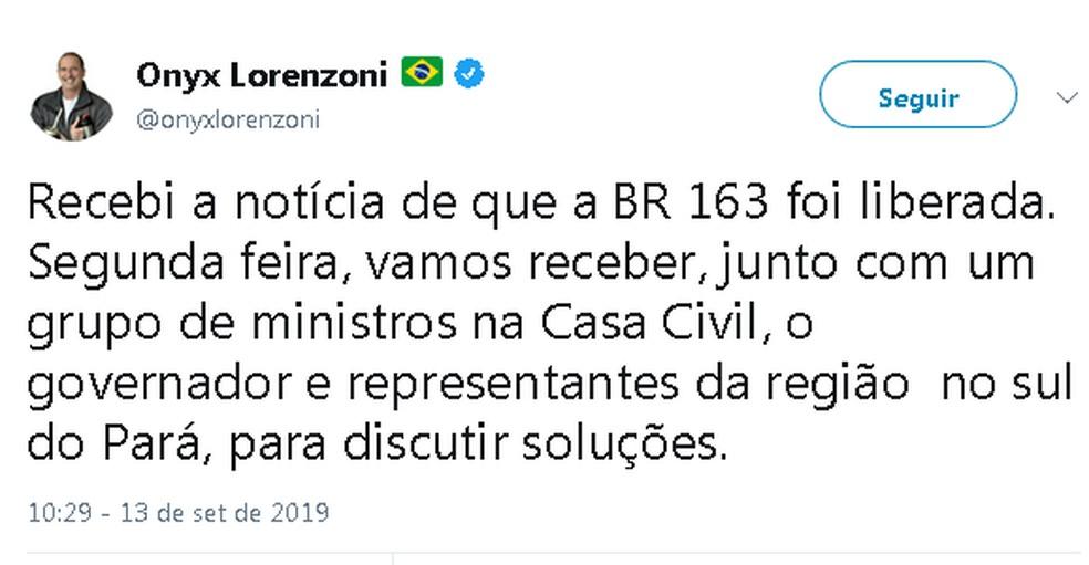 """Ministro da Casa Civil informou que irá reunir com o governador do Pará e """"representantes da região sul do estado"""" na segunda-feira, 16 — Foto: Reprodução/Twitter"""