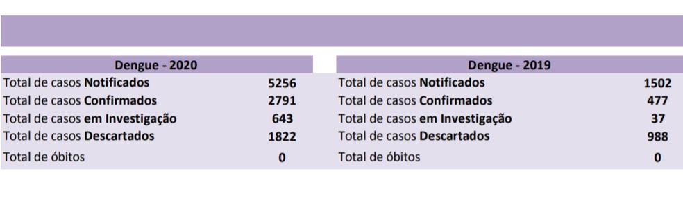 Casos de dengue em Rondônia — Foto: Agevisa/Reprodução
