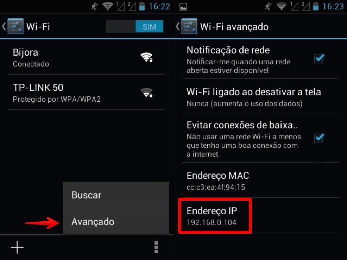 Localizando endereço de IP do telefone (Foto: Reprodução/Helito Bijora)