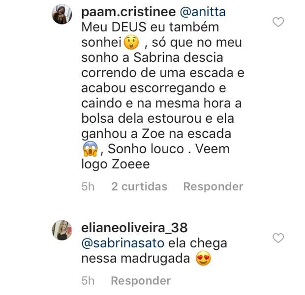 Seguidoras comentam em perfil de Sabrina Sato (Foto: Reprodução / Instagram)