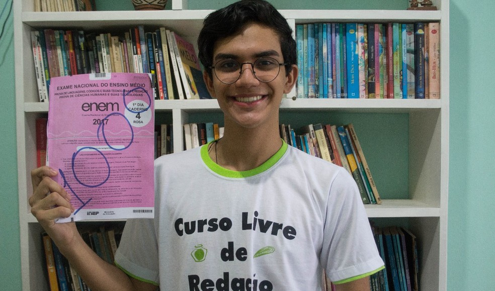 Vinícius mora em Castanhal e tirou nota máxima na redação do Enem 2017. (Foto: Arquivo Pessoal)
