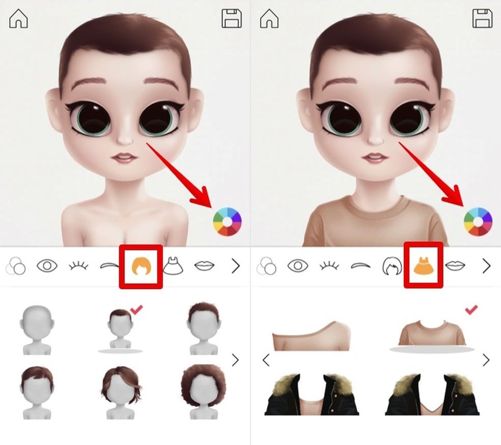 Altere cabelo e roupa no app Dollify — Foto: Reprodução/Helito Beggiora