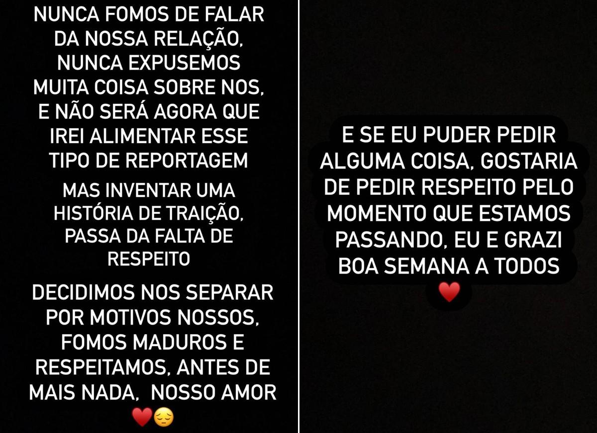Caio Castro confirma término em seu Instagram (Foto: Reprodução / Instagram)