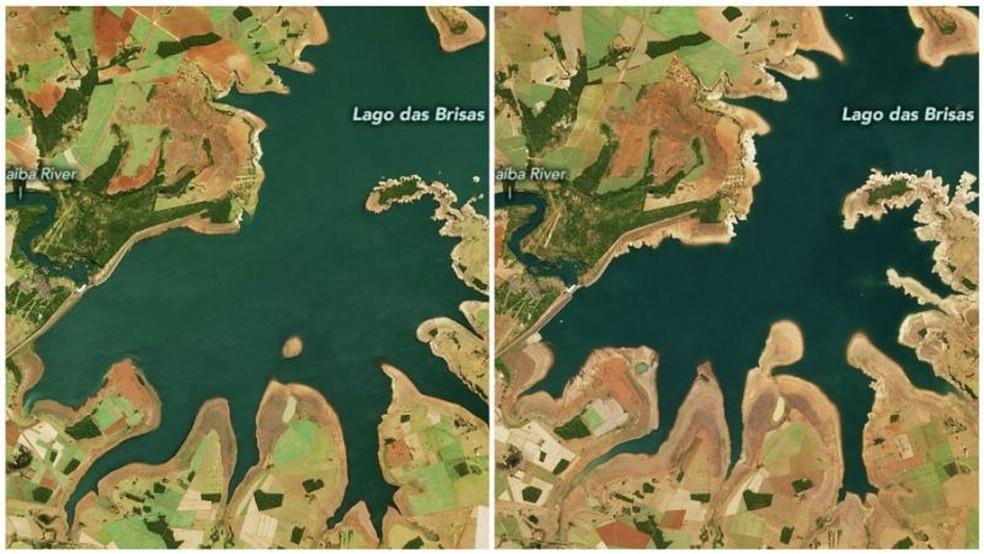 Comparação mostra impacto da seca no Lago das Brisas: imagem à esquerda foi registrada em 12 de junho de 2019 e imagem à direita, em 17 de junho deste ano — Foto: Nasa via BBC