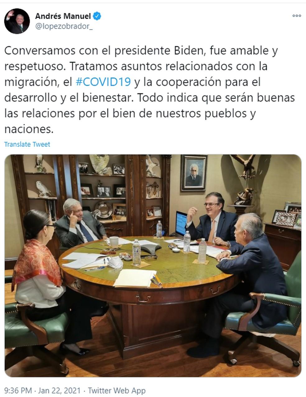 López Obrador anunciou nas redes sociais que conversou com Joe Biden, nesta sexta-feira (22) — Foto: Reprodução/Twitter