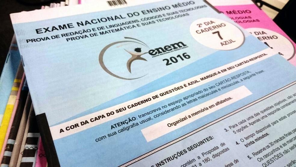 Caderno de prova do Enem 2016 (Foto: Arquivo/G1)
