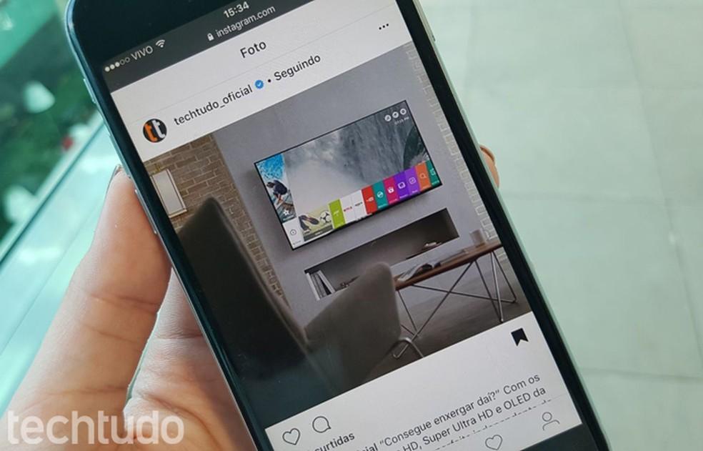 Instagram permite salvar posts para ver depois — Foto: Gabrielle Lancellotti/TechTudo