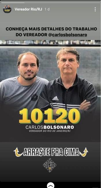 Jair Bolsonaro apaga postagem de apoio à candidatura do filho Carlos Bolsonaro