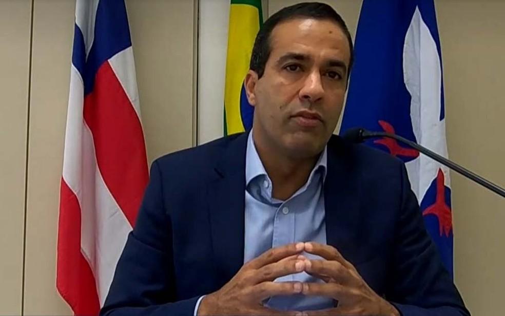 Bruno Reis anunciou início da vacinação contra a Covid-19, em Salvador — Foto: Reprodução/TV Bahia