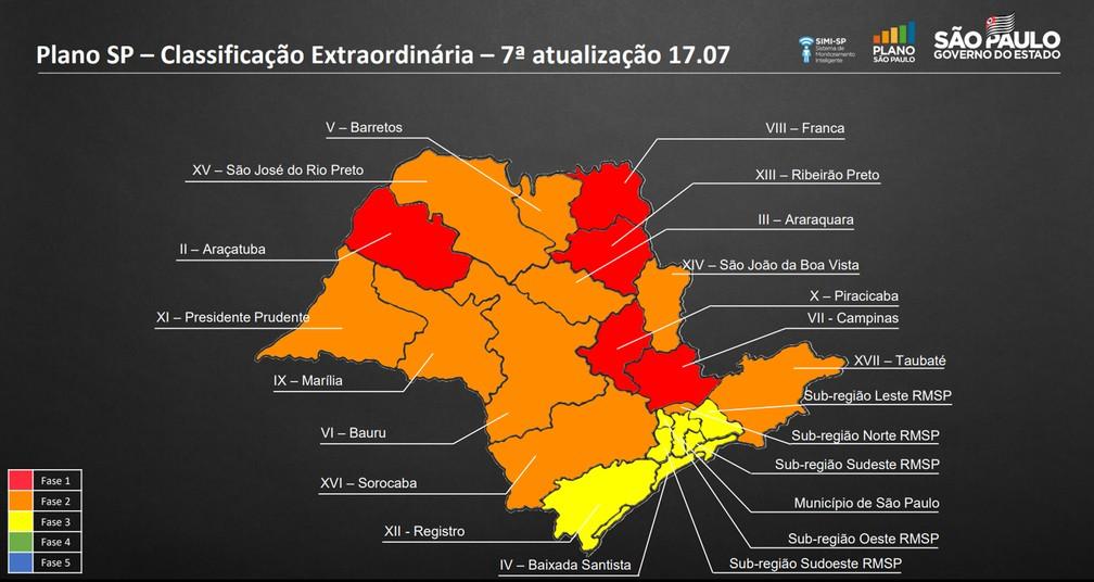 Municípios da região de Presidente Prudente continuam na fase laranja do Plano São Paulo — Foto: Reprodução